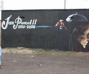 Papież na graffiti