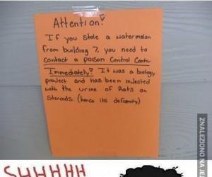 Informacja dla złodzieja arbuza