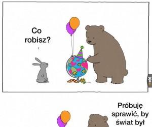 Co za dobroduszny niedźwiedź
