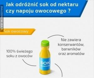 Jak odróżnić sok od nektaru czy napoju owocowego?