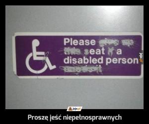 Proszę jeść niepełnosprawnych