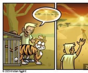 Chłopiec i jego tygrysek