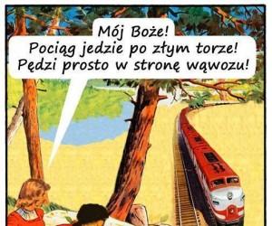 On nie myśli o pociągu...