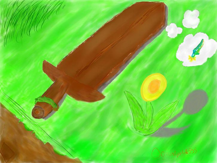 drewniany miecz z terrari