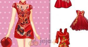 Czerwone sukienki w pawim piórem