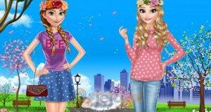 Elsa i Anna na spacerze