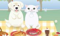 Pies i kotka na pikniku