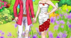 Para w bieli i czerwieni