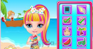 Mała Barbie rozrabia na plaży