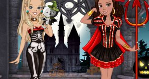 Zoe i Lily na imprezie halloweenowej