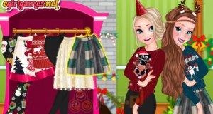 Świąteczne sweterki Elsy i Anny