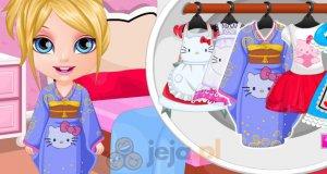 W stroju Hello Kitty