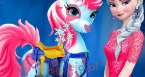 Elsa opiekuje się kucykiem
