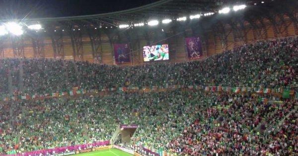 Śpiew kibiców Irlandii w meczu z Hiszpanią
