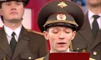 Rosyjska orkiestra wojskowa śpiewa