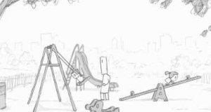 Tata i dzieci na placyku