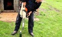 Otwieranie piwa.... piłą mechaniczną!