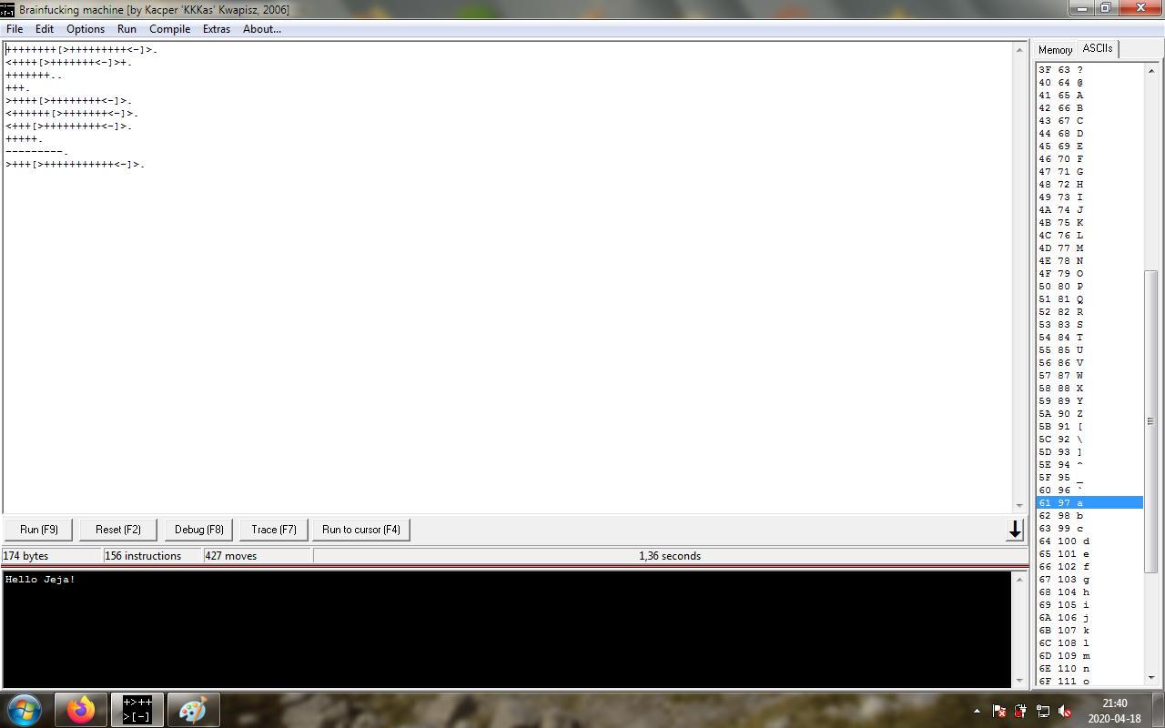 Zdjęcie użytkownika cristofer6 w temacie Brainf*ck - kto napisze krótszy program?