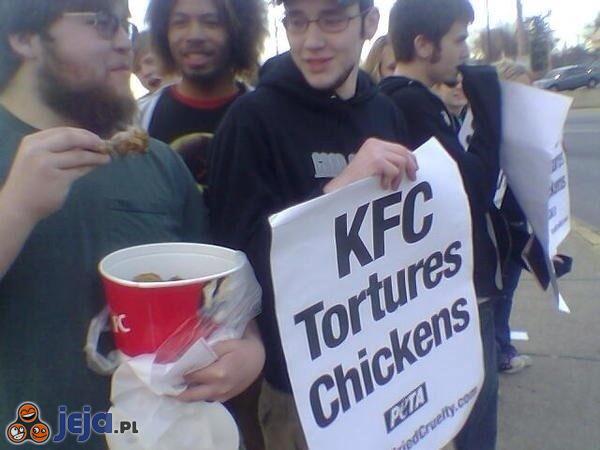 Przecież nie będzie protestował na głodniaka