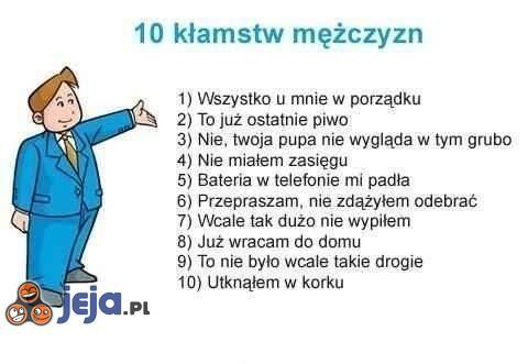 10 kłamstw mężczyzn