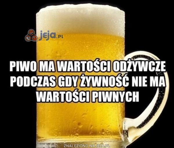 Piwo ma wartości odżywcze