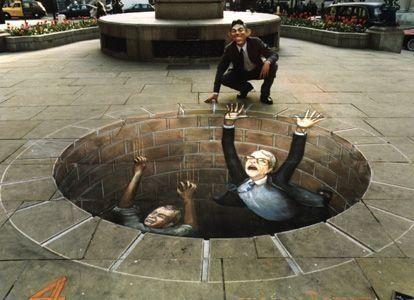 Iluzja na chodniku - przepaść