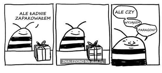 Niezręczna pszczoła i pakowanie prezentów