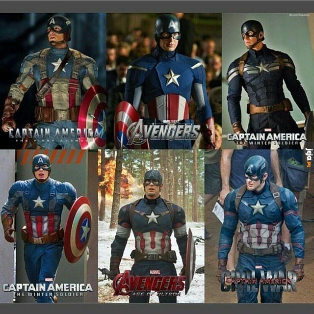Wszystkie kostiumy Kapitana Ameryki