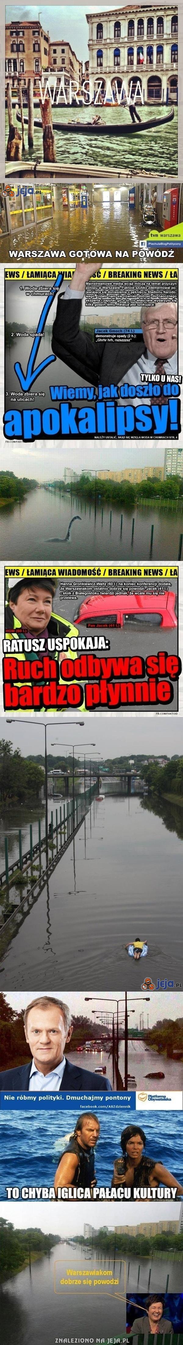 Żartobliwie o zalanej Warszawie