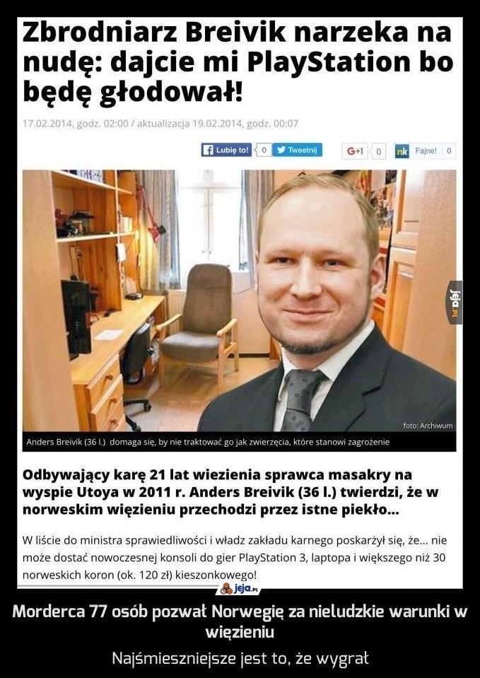 Morderca 77 osób pozwał Norwegię za nieludzkie warunki w więzieniu