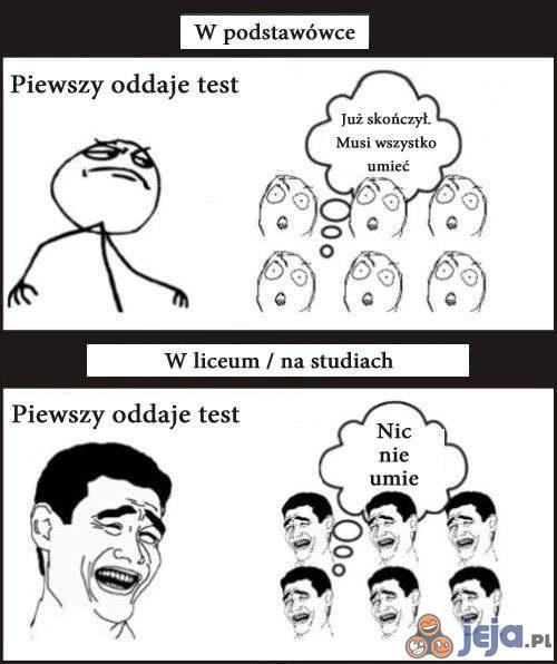 Test: W podstawówce vs. W liceum