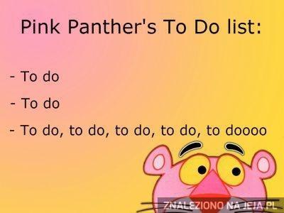 Lista do zrobienia od Różowej Pantery