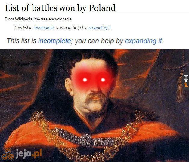 Lista bitew wygranych przez Polskę