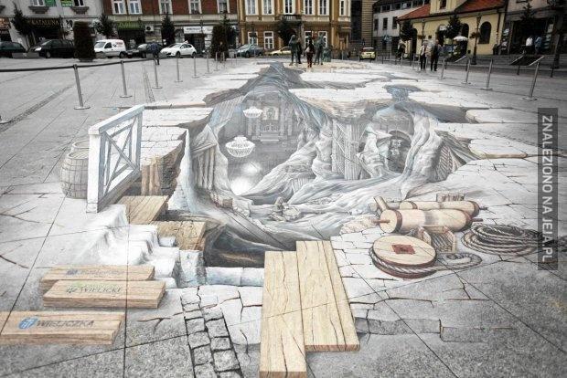 Rysunek 3D na chodniku