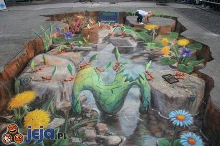 Iluzja na chodniku - ogród