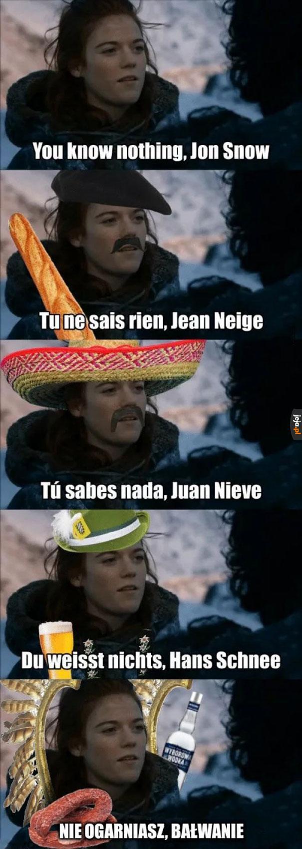 Jon Snow w różnych językach