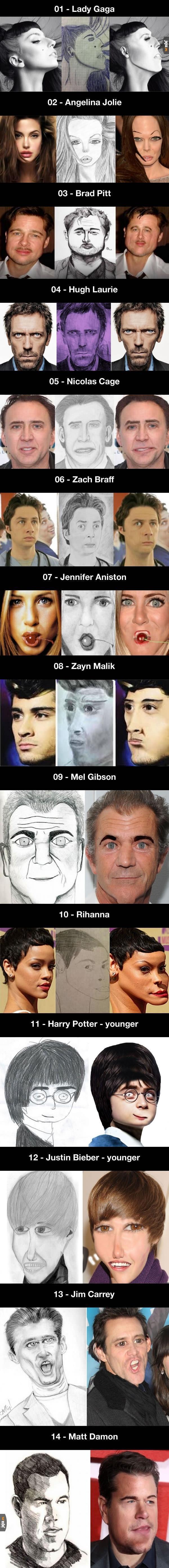 Celebryci przerobieni, żeby przypominać swoje portrety