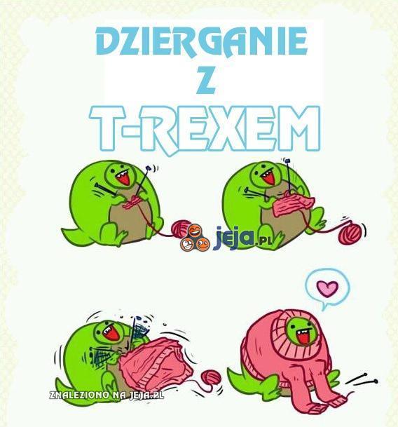 Dzierganie z T-Rexem