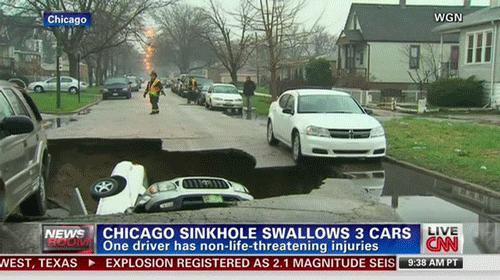 Ziemia pożera samochody