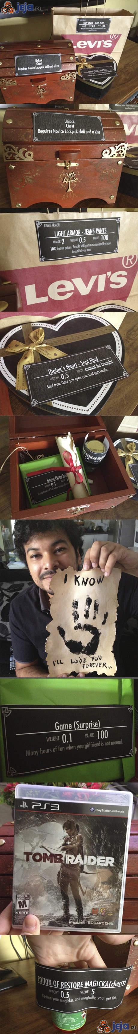 Pomysłowy prezent dla gracza w stylu Skyrim