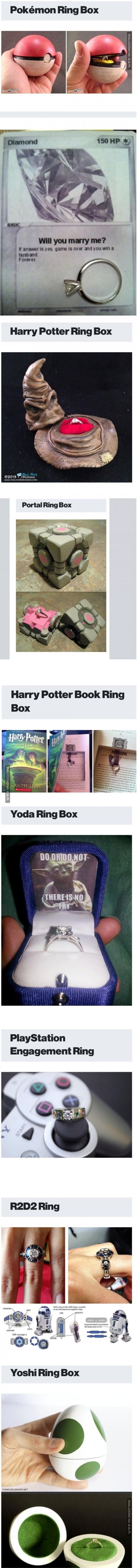 Pudełko na pierścionki zaręczynowe dla geeków