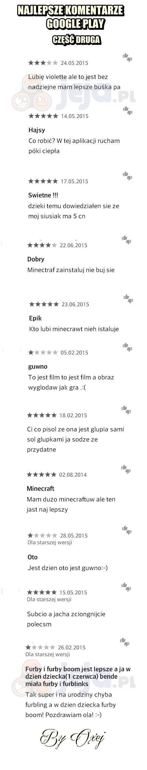 Najlepsze komentarze Google Play
