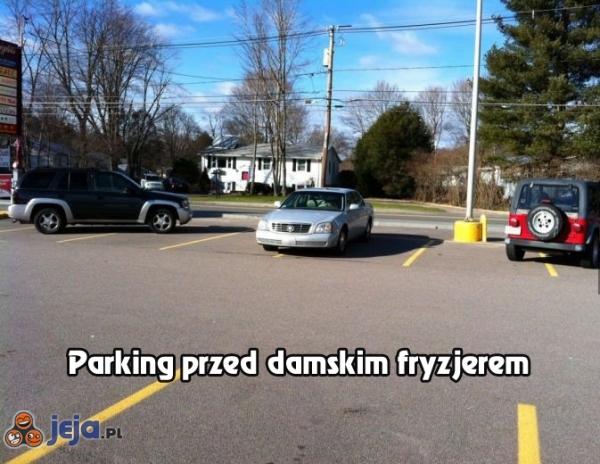 Parking przed damskim fryzjerem