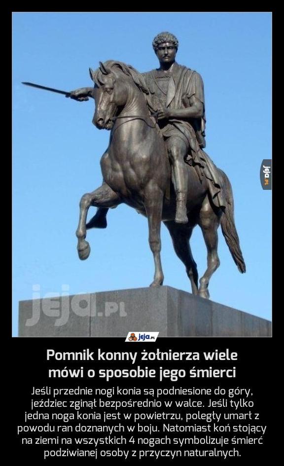 Pomnik konny żołnierza wiele mówi o sposobie jego śmierci