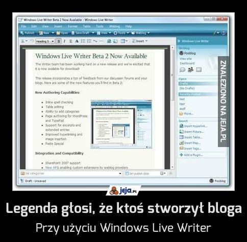 Legenda głosi, że ktoś stworzył bloga