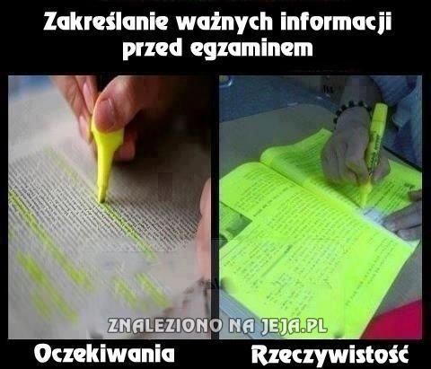 Zakreślanie przed egzaminem