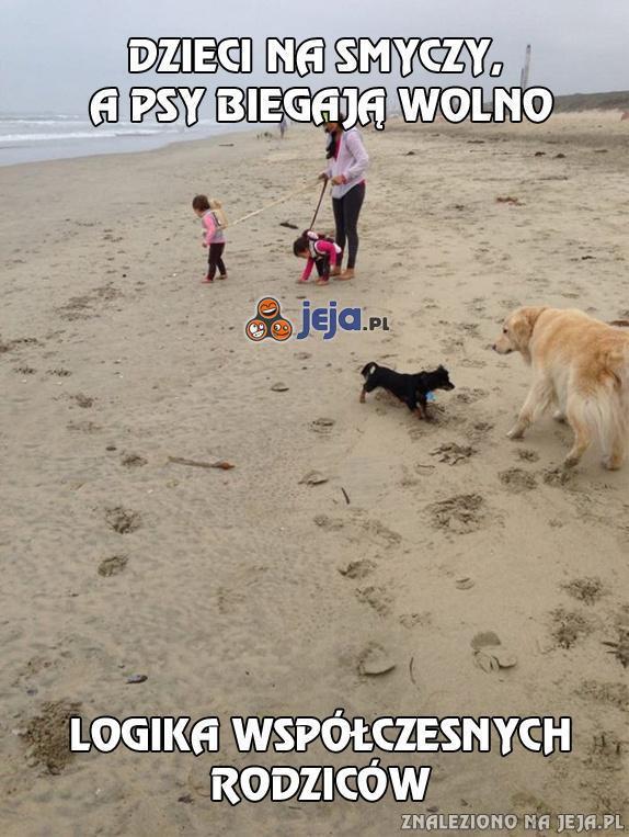 Dzieci na smyczy, a psy biegają wolno