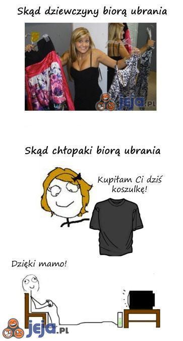 Pozyskiwanie ubrań - Chłopaki vs Dziewczyny