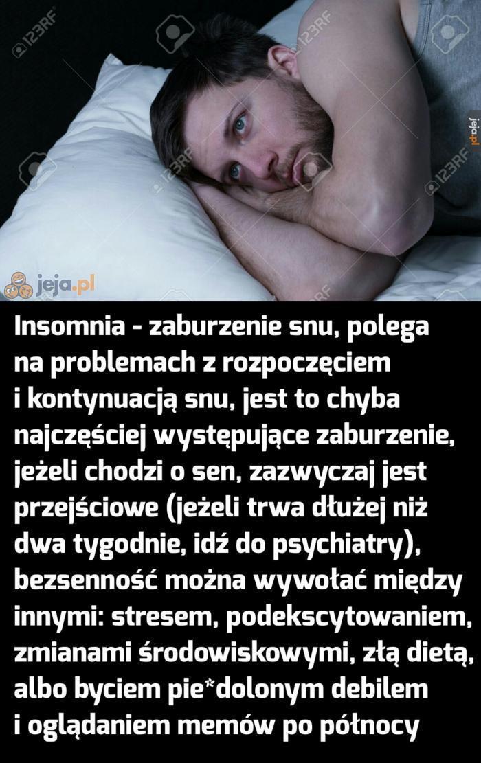 Zaburzenia snu - bezsenność