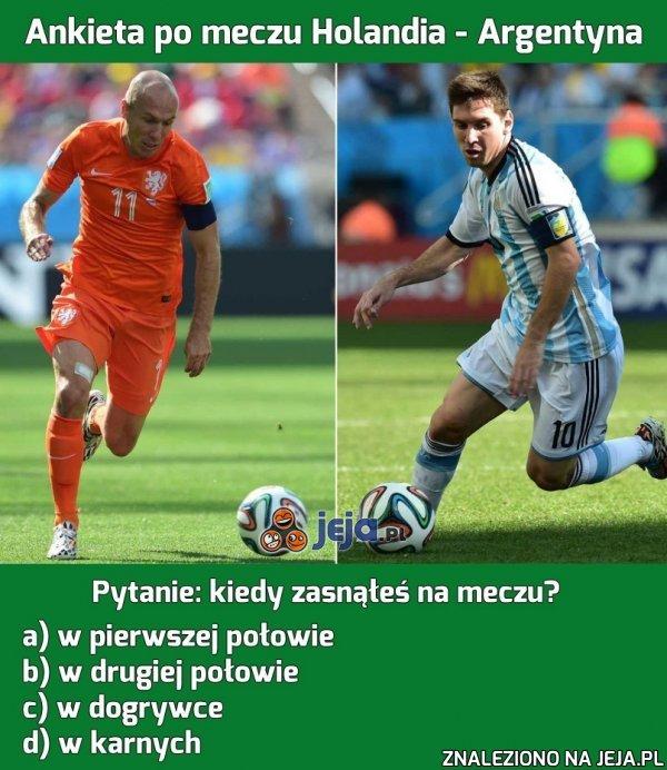 Ankieta po meczu Holandia - Argentyna